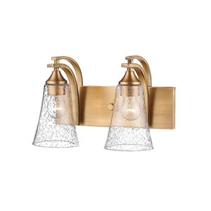 Natalie Heirloom Bronze Two-Light Vanity with Seeded Glass Shades