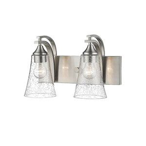 Natalie Satin Nickel Two-Light Vanity with Seeded Glass Shades