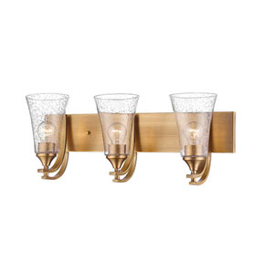 Natalie Heirloom Bronze Three-Light Vanity with Seeded Glass Shades