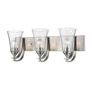 Natalie Satin Nickel Three-Light Vanity with Seeded Glass Shades