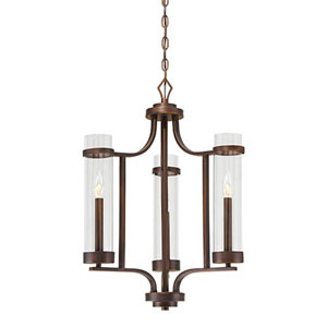 Milan Rubbed Bronze Three-Light Chandelier