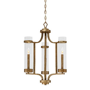 Milan Vintage Gold Three-Light Chandelier
