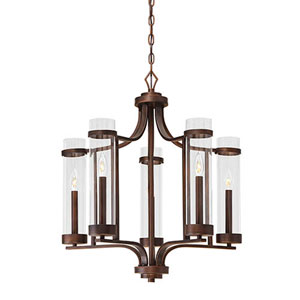 Milan Rubbed Bronze Five-Light Chandelier
