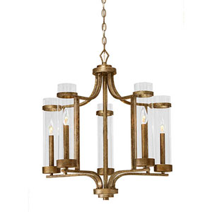 Milan Vintage Gold Five-Light Chandelier
