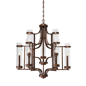 Milan Rubbed Bronze Nine-Light Chandelier