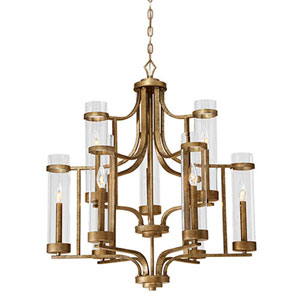 Milan Vintage Gold Nine-Light Chandelier