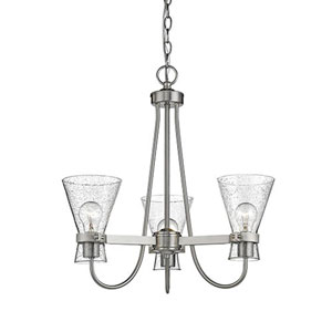 Brushed Nickel Three-Light Chandelier with Seeded Glass Shades