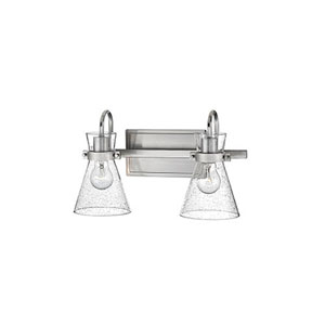 Brushed Nickel Two-Light Vanity with Seeded Glass Shades
