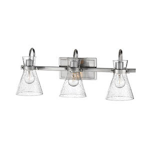 Brushed Nickel Three-Light Vanity with Seeded Glass Shades