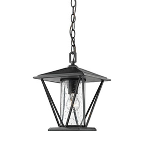 Powder Coat Black One-Light Outdoor Pendant with Seeded Glass
