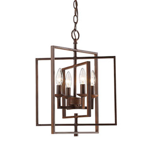 Rubbed Bronze 14-Inch Four-Light Pendant