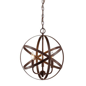 Rubbed Bronze Three-Light Globe Pendant