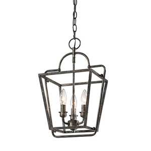 Antique Silver 12-Inch Three-Light Lantern Pendant