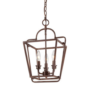 Rubbed Bronze 12-Inch Three-Light Lantern Pendant
