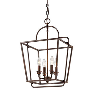 Rubbed Bronze Four-Light Lantern Pendant