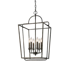 Antique Silver Six-Light Lantern Pendant