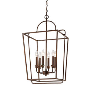 Rubbed Bronze Six-Light Lantern Pendant