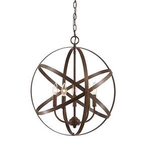 Rubbed Bronze Five-Light Globe Pendant