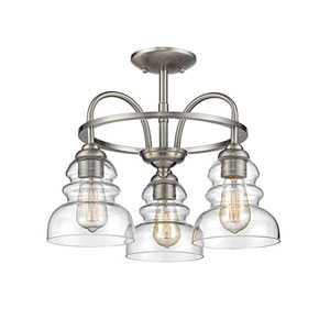 Brighton Satin Nickel Three-Light Semi Flush Mount