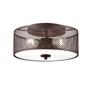 Akron Rubbed Bronze 13-Inch Three-Light Semi Flush Mount