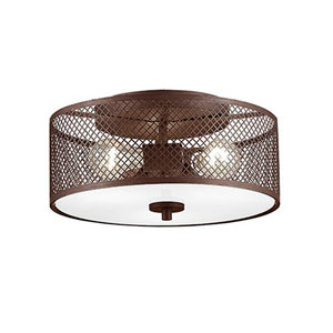Akron Rubbed Bronze 16-Inch Three-Light Semi Flush Mount