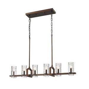 Tulsa Rubbed Bronze Six-Light Island Pendant
