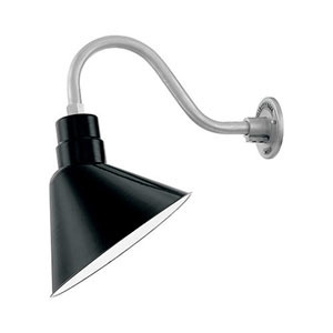 R Series Black 12-Inch One-Light Outdoor Warehouse Angle Shade Only
