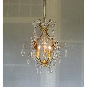 Gabriella Gold Leaf Three-Light Mini Chandelier