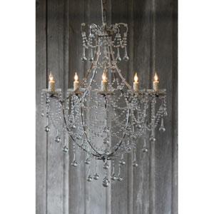 Jazmine Antique Silver Five-Light Chandelier