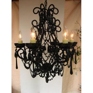 Lily Gloss Black Six-Light Chandelier