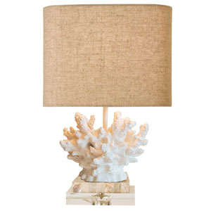 Coastal Retreat Chalk White and Mother of Pearl One Light Accent Lamp