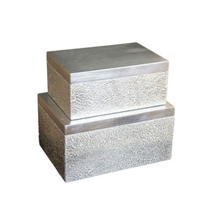 Shimmering Silver White and Silver Cracked Eggshell Parker Rectangular Boxes, Set of 2