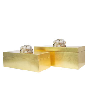 Golden Glamour Gold Leaf Astoria Quartz Rectangular Boxes, Set of 2