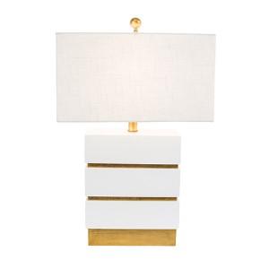 Golden Glamour Gloss White 24-Inch High San Simeon Table Lamp