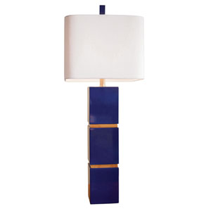 Graphic Appeal Glossy Indigo Blue Lacquer One Light Table Lamp