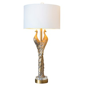 Golden Glamour Golden Peacock 38.5-Inch High Table Lamp