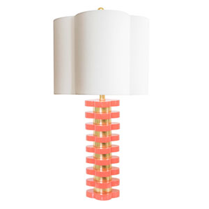 Golden Glamour High Gloss Coral 6-Inch Quatrefoil Lamp