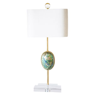 Coastal Retreat Irridescent Abalone Shell One-Light Energy Star Table Lamp