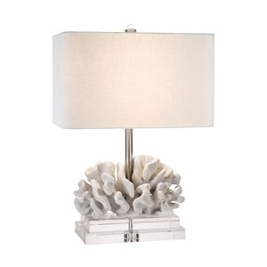 Coastal Retreat Coral White 22-Inch High Elkhorn Table Lamp