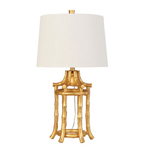 Global Explorations Gold Leaf 10-Inch Bamboo Table Lamp