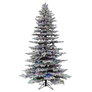 White 7.5 Feet x 57-Inch Flocked Arctic Fir LED  Artificial Christmas Tree with 504 RGB Color