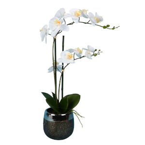 White Real Touch Phalaenopsis in Metal Pot