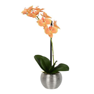 Peach Real Touch Phalaenopsis in Metal Pot