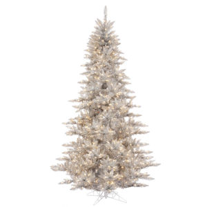 Silver Fir Gray Artificial Pre-lit Tree with 1634 PVC Tip