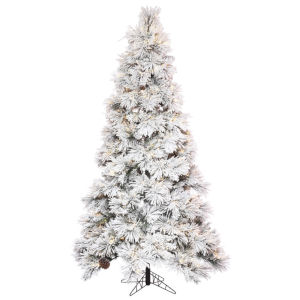 Flocked Atka Green Artificial Pre-lit Tree