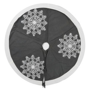 Winter Gray 60-Inch Tree Skirt with Festive Frost Grey Duckcloth