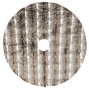 Snow Mink Brown 60-Inch Tree Skirt with Elegant And Plush Faux Fur Stripe Design