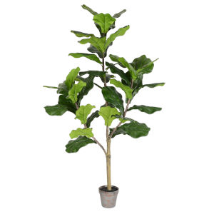 Green 4-Feet Potted Fiddle Tree with 39 Leaves
