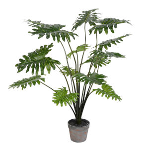 Green 38-Inch Potted Grand Philo Bush with 14 Leaves