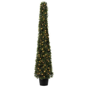 Green 4-Feet LED 100-Lights Potted Boxwood Cone with UV Resistant